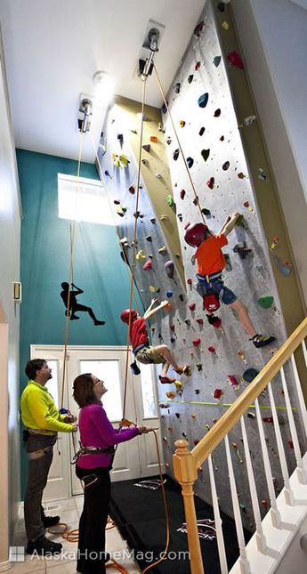 Climbing the walls – literally! Does it ever feel like your kids are climbing the walls? Doug and Renee Huntman know the feeling. Their kids do it all the time. On any given day, you'll find them climbing the walls in the entryway of their South Anchorage home – on an 18-foot rock wall.