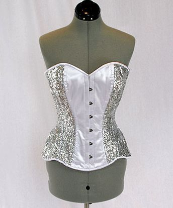 97acb2499c5 Shiny siquins and satin overbust authentic corset with long hip-line. Steel- boned