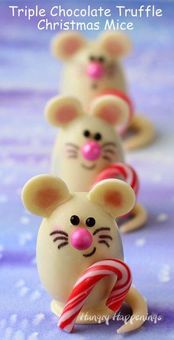 Triple Chocolate Truffle Christmas Mice made with Silk Cashew Milk