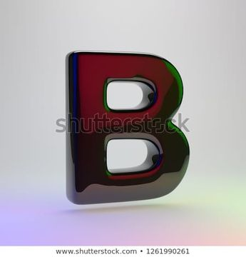 3d letter B uppercase. Black font with red, green and blue lights reflection isolated on light background