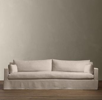 Petite Belgian Track Arm Slipcovered Sofa Sears Leather Warranty 7 The By Rh Shown In Sand Linen From 2 095