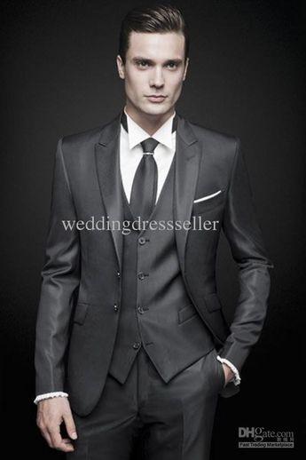 Wholesale Groom Tuxedos - Buy New Arrival!!!2014 Custom Made Handsome Wedding Groomsman Suit Bridal Groom/Best Mens Suits TuxedosJacket+Pants+Vest+Tie Ke1093, $105.74 | DHgate
