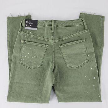 5e6fdd64 Details about 3052 Mossimo High Rise Paint Splatter Raw Hem Jegging Crop  Jeans Sz 4 Green
