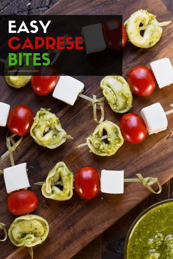 Appetizers don't get much easier than these 4-ingredient Caprese Bites! #appetizers #parties #makeahead