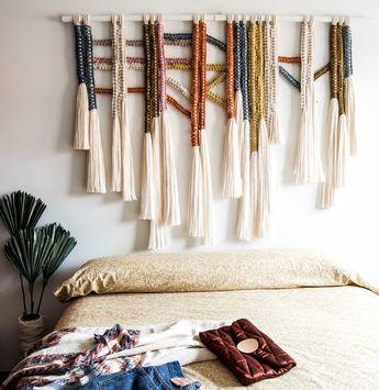 "Macrame Wall Hanging / ""Earthy"" Headboard Fiber Art / Macrame Wall Art / Tapestry / Wall Art / Ranran Design"