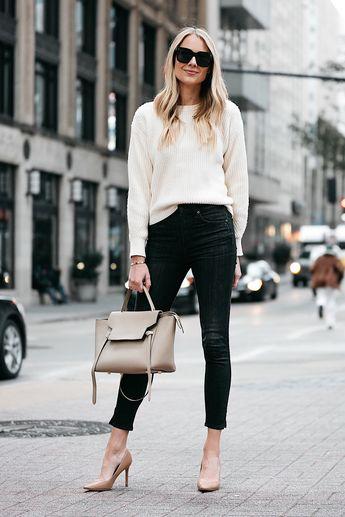 dfc1a156 Fashion Jackson @fashion_jackson. 2y 333. Blonde Woman Wearing Jcrew Off  White Oversized Sweater Rag and Bone Black Skinny Jeans Nude Pumps