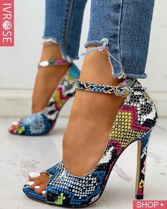 Peep Toe Colours Snakeskin Print Thin Heels