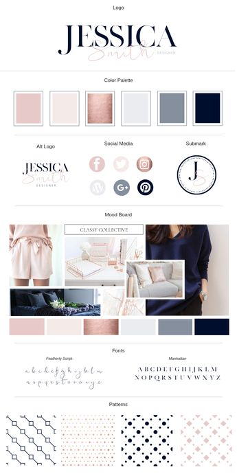 Rose Gold Brand Board Template for Canva | Lady Boss Studio