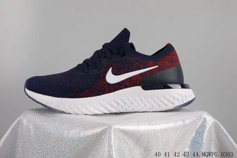 5f72a60e32fc New Nike Epic React Flyknit Sneakers Dark Blue Red Black White