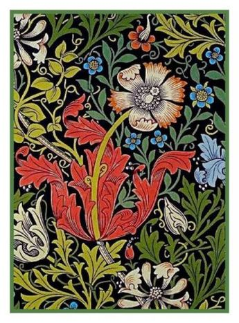 William Morris Compton Flower Design Counted Cross Stitch Chart Pattern