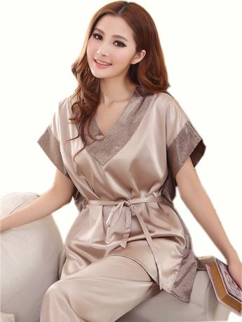 f57df73005250 Summer 2016 Women Sexy Silk Pajamas Fashion Solid Color Sleep set V-neck  Short-