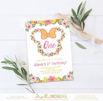 Minnie Mouse Luau Birthday Invitation Floral Hawaiian Summer Tropical Pool