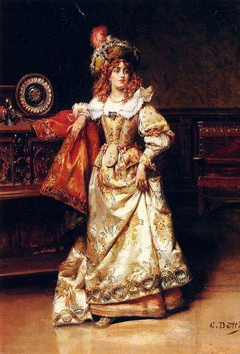 the-vintage-dress:    Waiting For Her Escort   Cesare Auguste Detti(Italian, 1847-1914)..