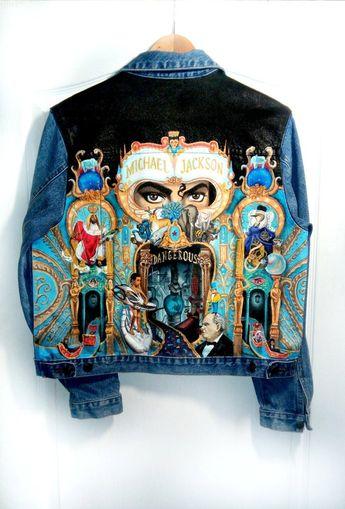 Items similar to Hand painted denim jacket Michael Jackson tribute on Etsy