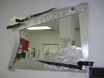 brushed aluminum mirror in metal mirror and custom designed mirror