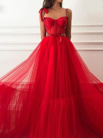 Vintage Red Prom Dress Tulle Cheap Long A Line Prom