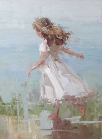 Summer Joy, impressionist style painting of little girl running.