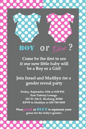 gender reveal invitation he or she polka dots expecting pr