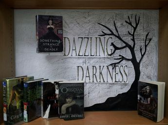 Halloween Young Adult library display. I done this today and its my favorite Halloween display so far.