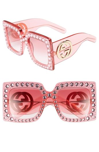 8417de68a19 Gucci 53mm Crystal Embellished Square Sunglasses
