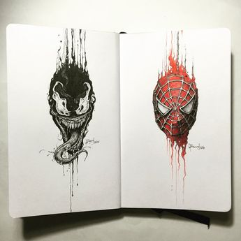 A new series of drawings featuring pop culture characters drawn as dripping portraits in a pocket sketchbook. First stop:  Venom x Spider-Man Who do you think I should do next? Instagram: inst...