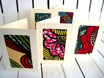 wedding invitations african wax card set with envelopes fabric cards
