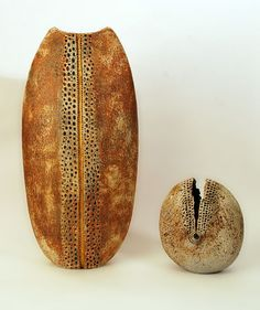 Alan Wallwork, Unique stoneware very large vase with hand carved decoration and gold leaf accent | ceramics