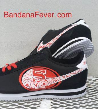 6a25f6fa Bandana SF 49ers Big Print Custom Black/White Nike Cortez Shoes