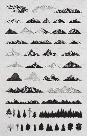 Hand Drawn Mountains and Trees #Vector#Part#delivered#files #handdrawn #mountainart #treeart #artinspiration
