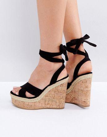 ASOS TAMBOURINE Tie Leg Wedges - Black