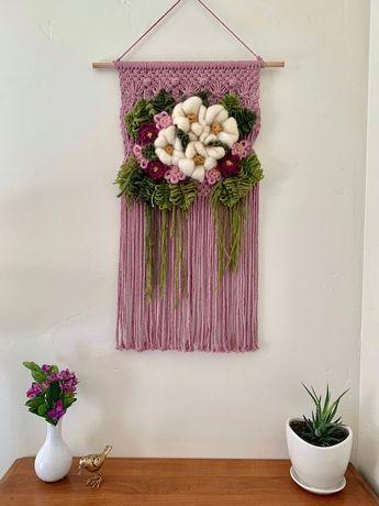Floral Bouquet Wall Hanging, flower art, statement piece, purple nursery decor, entryway decor, fiber macrame, birthday gifts for women
