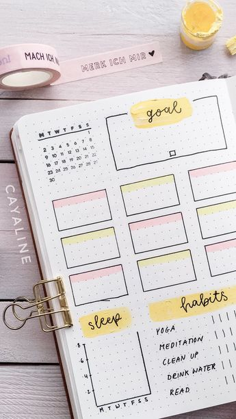Bullet Journal Weekly Spread by Cayaline