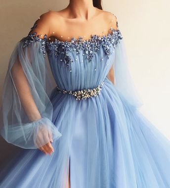 teita matoshi duriqi - blue mesh chiffon beaded dress