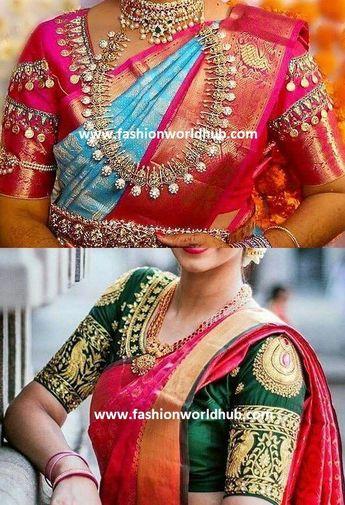 c3f08e905f6d69 Heavy maggam work blouse designs.   Fashionworldhub #bridaljewelleryheavy