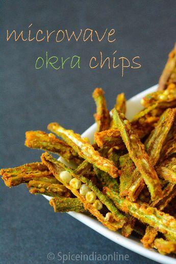 MICROWAVE OKRA CHIPS RECIPE - Kurkuri Bhindi Recipe