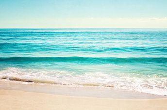Ocean Canvas Gallery Wrap, large beach landscape wall art aqua blue print teal turquoise cream sea c