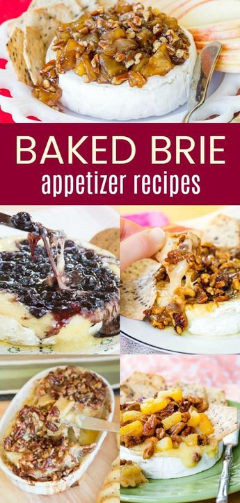 Baked Brie Appetizers - add the best Brie cheese appetizer recipes to your party menu. Ooey gooey melty brie with delicious toppings are perfect to pair with crackers to dip. #brie #bakedbrie #appetizer #appetizerrecipes via @cupcakekalechip