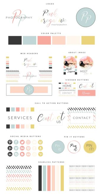 Web Branding Kit - Pink Perogative #Editable#FULLY#template#Photoshop