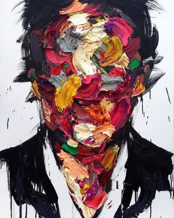 Im in love with this artists work! Using simple textured pallets to cover the face adds some kind of mystery to the final piece. #artistunknown #artists #pallet #art #muse #painter #paint #paintpot #paintbrush #acryllics #colour #statement #artistsoninstagram #follows #gofollow #instagood #canvas #studio