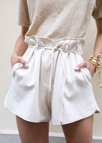 Piped Natural Shorts with Self-Tie Belt