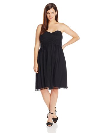 Donna Morgan Womens PlusSize Strapless Sweetheart Chiffon Dress Black 16W >>> You can find more details by visiting the image link. (This is an affiliate link and I receive a commission for the sales) #plussizeweddingdresses