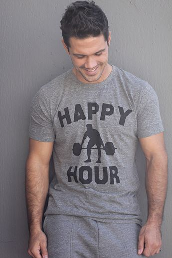 Mens T-shirt - Happy Hour - Mens Apparel - Fitness Inspired apparel for the gym, for working out - Gym Tshirt - CrossFit tee - Gifts for Him