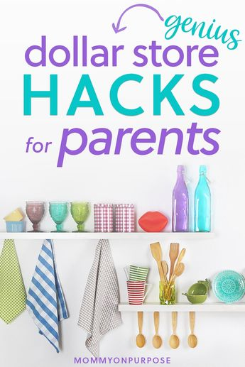 Looking for a good parenting hack? What about game hacks and organization hacks? This is a list of easy Dollar Store hacks and ideas will help you enjoy time with your family and keep a clean home on a budget. #mommyonpurpose #dollarstore #hacks #declutter #organization #parentinghacks #organizationhacks #declutterhacks #momhacks #momlife