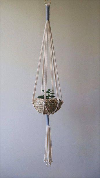 Color Accent Macramé Plant Hanger | Plant Hanger | Plant Holder | Plant Hanging | Macramé Plant Holder | Modern Macramé | Bohemian Décor