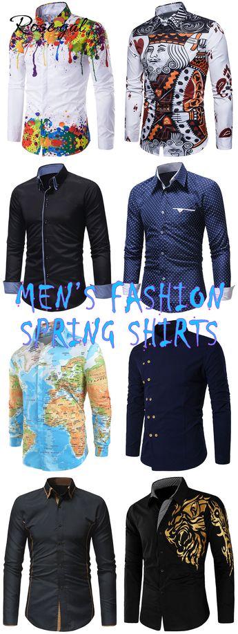 Free shipping over $45, up to 75% off, Rosegal Pattern Turndown Collar Long Sleeve Shirt  | #rosegal #shirts #mensfashion #vintage #springoutfits