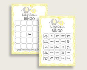 Bingo Baby Shower Bingo Yellow Baby Shower Bingo Baby Shower Elephant Bingo Yellow Gray party plan party decor party stuff prints W6ZPZ