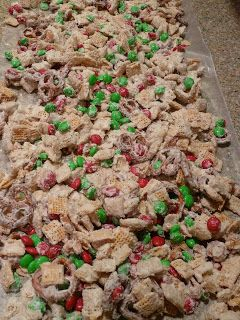 Snow Flake Mix- I absolutely love this!!! When making it be sure to get the chocolate pieces completely spread throughout it is much better when the white pieces aren't chunky, only change I will make next time is I will use regular m&m's and not the mint. it is too good without the mint. Very easy and I would recommend 100 %