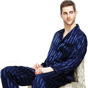 NWT 2PCS Mens Silk Satin Pajamas Sleepwear Pyjamas PJS Long Sleeve M008 M L