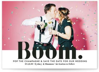 BOOM Pop The Champagne Save The Date Petite Cards