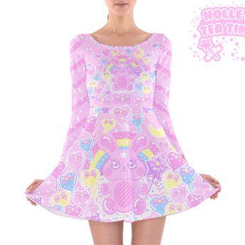b47f30e6fa Bubblegum Bunny Long Sleeve Skater Dress ☆ Made To Order Kawaii